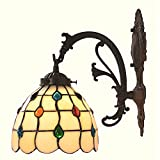 Bieye Tiffany Style Stained Glass Jewels Wall Sconces with 7 inches Handmade Shade (Multi-colored Jewels Single Downlight)