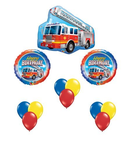 Fire Truck Red Engine Happy Birthday Balloon Bouquet Party Set 12 Mylar & Latex ()