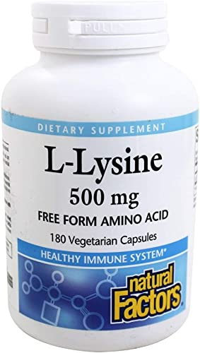 Natural Factors – L-Lysine, Supports Healthy Immune System Function, 180 Vegetarian Capsules