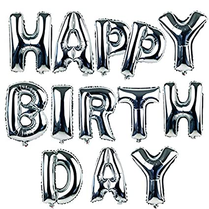Amazon 16 Happy Birthday Alphabet Letters Balloons Foil Mylar Party Decoration Silver Toys Games