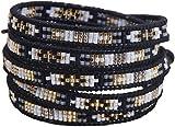 KELITCH Braided Seed Bead Bracelet Women 5 Wrap Bracelet Handmade New Top Jewelry (Black)