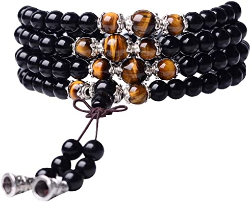 Genuina Pulsera 7 Chakra Curación Chakra Piedras Preciosas Negro Onyx Cuentas UK Made