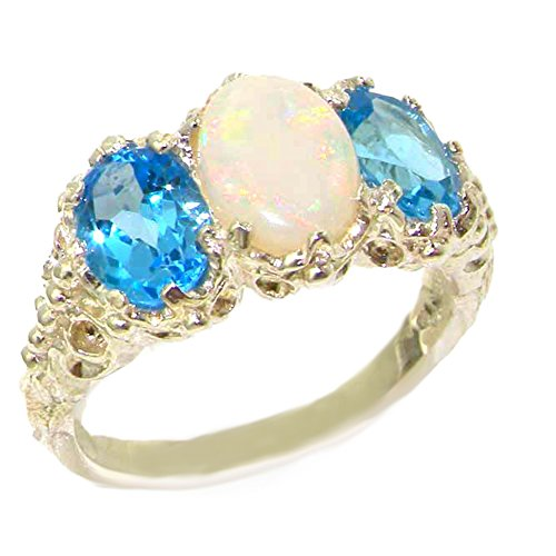925 Sterling Silver Real Genuine Opal and Blue Topaz Womens Band Ring - Size 7