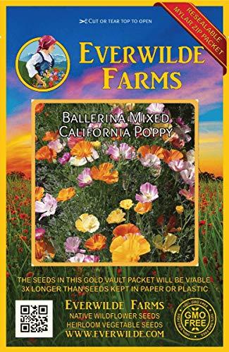 Everwilde Farms - 1000 Ballerina Mix California Poppy Wildflower Seeds - Gold Vault Jumbo Seed Packet California Poppy Seed Paper