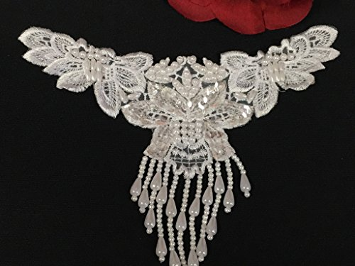 2 Pieces, Beaded Fringe Floral Applique with Sequins, White,