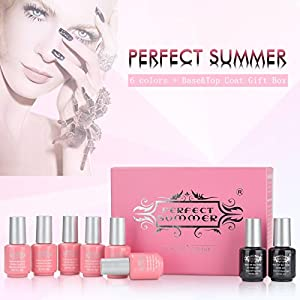 Perfct Summer UV LED Soak Off Gel Nail Polish - Glitter Colors Nail Polish ,8ml Each #10