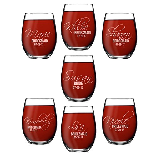 Set of 1, 2, 3, 4, 5, 6, 7, 8 Custom Etched Bride, Bridesmaid Stemless Wine Glasses - Personalized Wedding Party Glass Gifts - Feather Tip Style ()