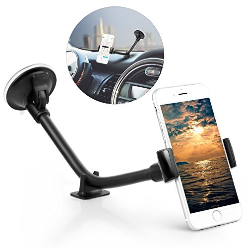 Ameauty Car Mount Holder, Long Arm Universal Windshield Phone Mount Holder Cradle for iPhone 7 /7plus, 6/6s,5/5s, Samsung Galaxy / Note, HTC, LG, Nexus, Nokia, Smartphones and Devices(Black)