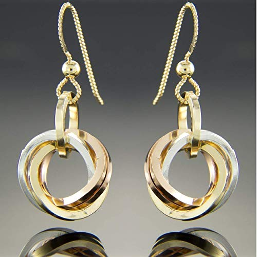 Tri Color Love Knot Everyday Dangle Earrings in Sterling Silver and 14K Yellow and Rose Gold ()