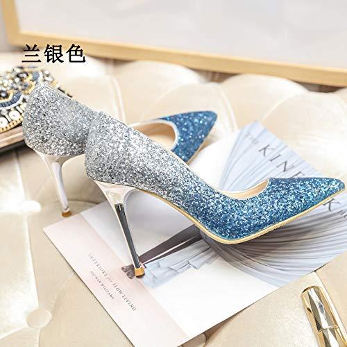 da sposa blu a 5 affilato40 col Donna Scarpe Scarpe cristallo tacco alto graduale sul MLGSDW Argento 5Cm tallone in spillo tacco Nuovo q1OU6T0w