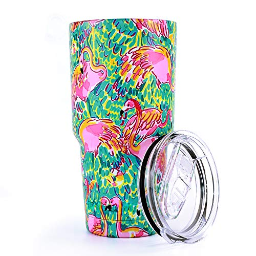 Flamingos Decor - Pandaria 30 oz Stainless Steel Vacuum Insulated Tumbler with Lid - Double Wall Travel Mug Water Coffee Cup for Ice Drink & Hot Beverage, Flamingo