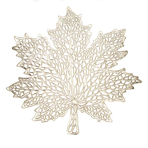 Snowkingdom Gold Maple Leaf Placemats Metallic Vinyl Thanksgiving Holiday Fall modern Dining Table Mats Charger Set of 6