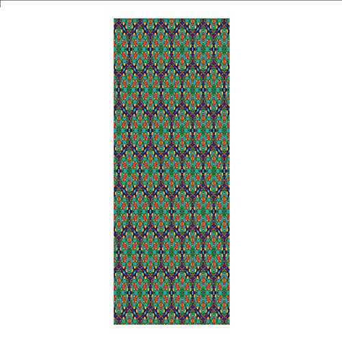 3D Decorative Film Privacy Window Film No Glue,Turquoise,Spider Web Inspired Floral Detailed Image on Blue Backdrop,Fern Green Marigold and Navy Blue,for Home&Office