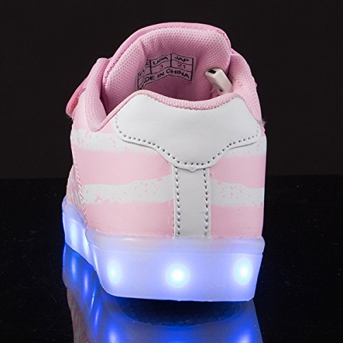 AFFINEST Kinderschuhe LED Sportschuhe USB Aufladen 7 Lichtfarbe Sternen Leuchtend PU Sneaker Turnschuhe Rosa