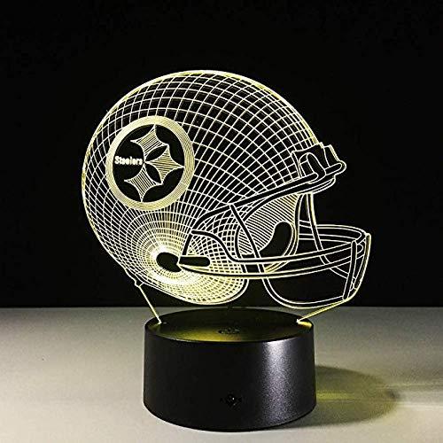 nge 3D Led Night Light NFL Team Pittsburgh Steelers Football Helmet Touch Sensor USB Table Lamp Home Decor Kids Gift ()