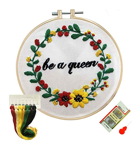 Louise Maelys Floral Wreath Embroidery Kit with Floss Needles for Beginners Cross Stitch Starter Kit