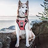 Babyltrl Large Pink Dog Harness No Pull Anti-Tear Adjustable Pet Reflective Oxford Soft Vest for Large Dogs Updated Version with Dog Collar for Large Dogs Easy Control Harness (Dog Collar Included)