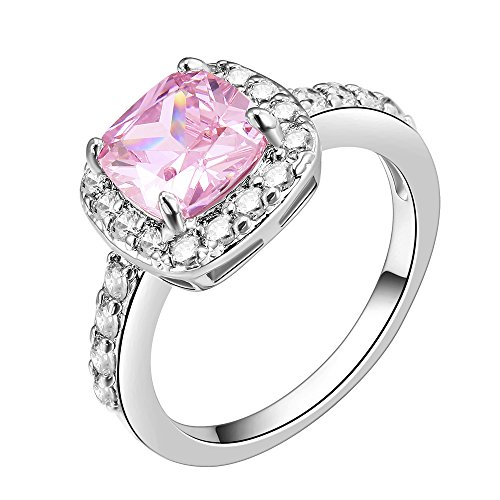 (Impression Collection Square Rings Wedding Party Statement CZ Cocktails Gold Plated Classic Fashion Size 5-10 (Pink, 4))