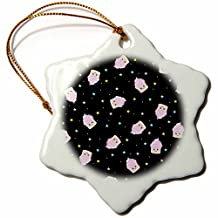 InspirationzStore Cute Food - Cute cupcake pattern - Pink Cupcakes and colorful pastel stars in black space - kawaii happy foods - Ornaments - 3 inch Snowflake Porcelain Ornament (orn_76571_1)