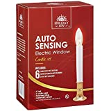 Holiday Joy - Electric Window Candles Lamp Set with Auto Sensor - Set Includes 12 Candles, 24 Bulbs, 12 Suction Cup Candleholders