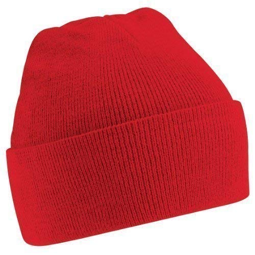 Red Beanie Kids (Beechfield Soft Feel Knitted Winter Hat (One Size) (Classic Red))