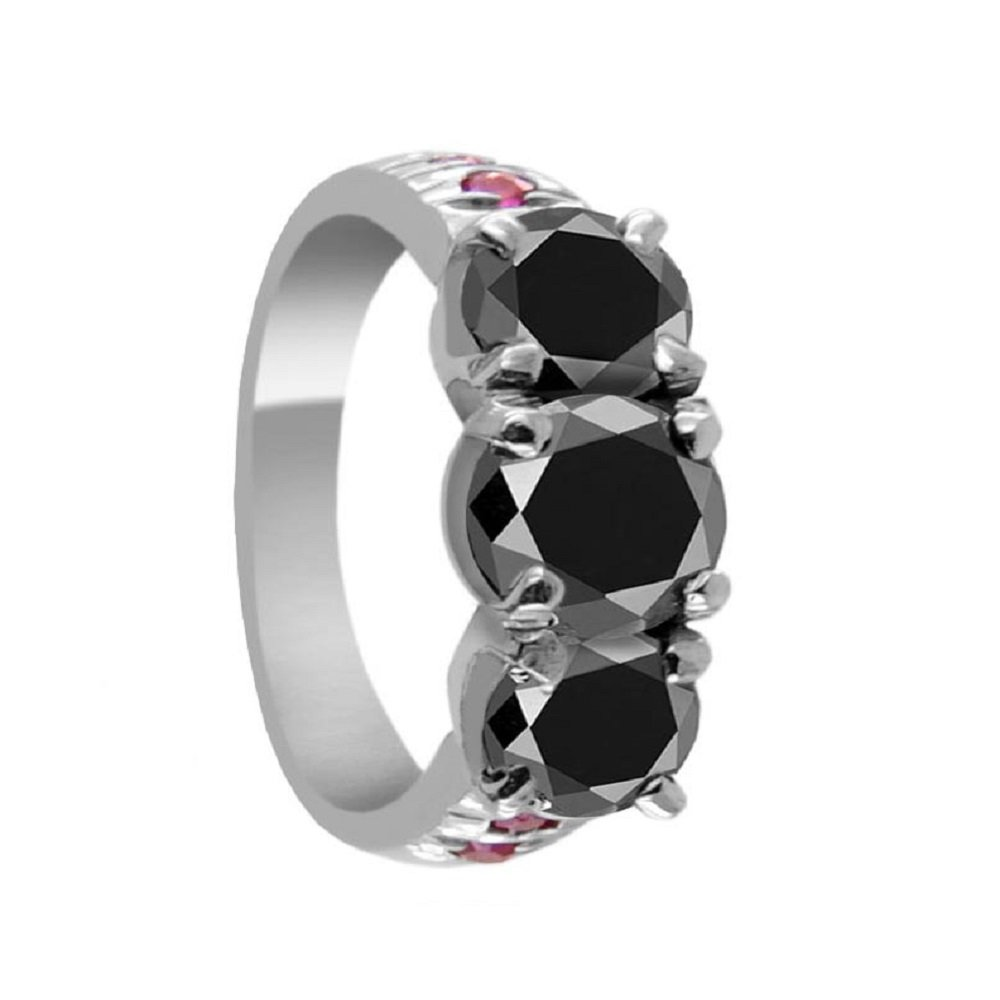 Certified 2.05 Ct Round Brilliant Cut Black Diamond with Ruby Accents Silver Ring