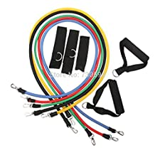 11Pcs/Set Natural Latex Exercise Tubes Elastic Training Pull Rope Fitness Resistance Bands Yoga Pilates Workout Cordage A001 Series