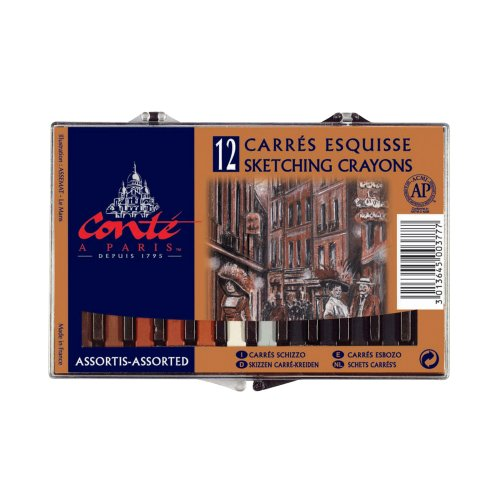 Conte Classic Color Crayons, 12 Pack ()