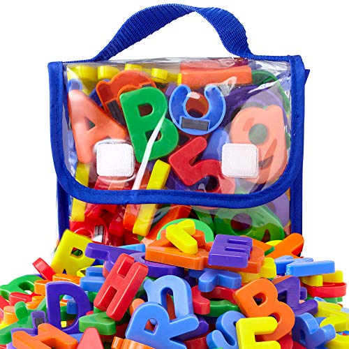 """EduKid Toys 72 Magnetic Letters & Numbers (Tote) 1.25"""" - 1.75"""" (72 ABC Alphabet Magnet Letter)"""