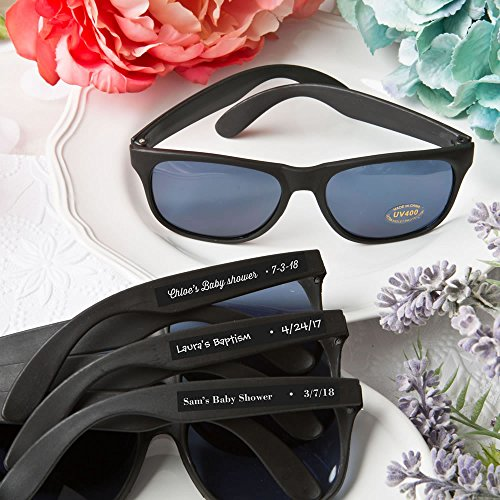 Set of 40 Personalized Cool Black Sunglasses Baby Shower Favors Custom Stickers