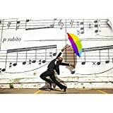 """CANVAS ON DEMAND Wall Peel Wall Art Print Entitled A Man Jumping and Dancing with an Umbrella Outside 18""""x12"""""""
