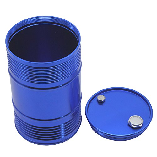 LAFEINA Metal Oil Drum Fuel Tank Container for 1/10 RC4WD D90 SCX10 Rock Crawler RC Car Decor Accessories (Blue)