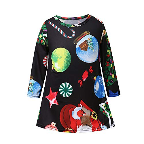 Girl Print Dress, Long Sleeve Casual Cartoon Candy Star Sundress for Children Outfits Clothes -