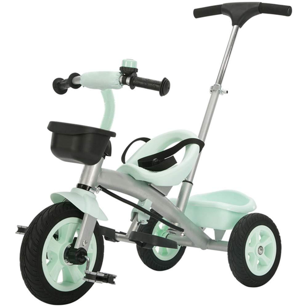 Axdwfd 子ども用自転車 プッシュハンドル付きキッズ三輪車キッズペダル自転車25歳OldLoad Weight 25kgベビーカーボーイズガールズトイカー(カラー:ミントグリーン、パープルタロ) (色 : Mint green)  Mint green B07NQMGJMW