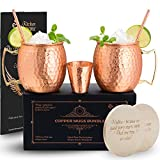 Compra Moscow Mule Copper Mugs Set of 2 - 100% Solid Copper Mug en Usame