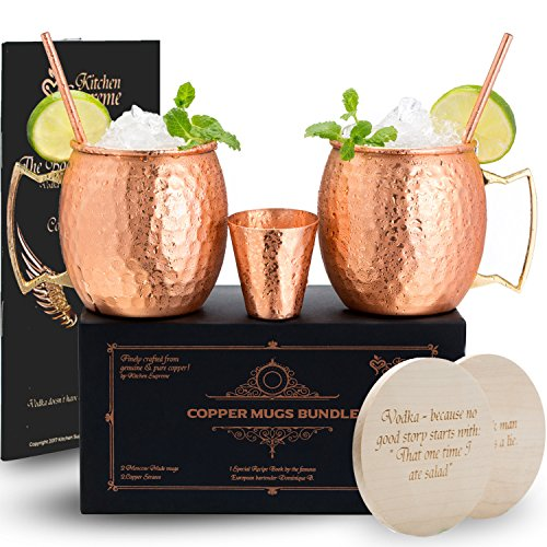 Copper Mugs Moscow Mule Set of 2 – 100% Real Pure Hammered Copper│16oz│2 Premium Drinking Copper Cups + 2 Solid Copper Straws + 2 Wooden Coasters + 1 Shot Glass & Recipe Book in the Deluxe Gift Box (Moscow Mule Cup Set)