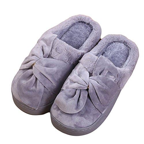 Cybling Dames Winter Pluche Pantoffels Comfortabele Indoor Huis Schoenen Zachte Zool Grijs