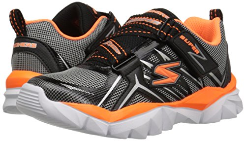 Skechers Kids Electronz Sneaker (Little Kid/Big Kid), Black/Orange, 1.5 M US Little Kid