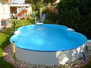 Exklusiv Acero Pared Pool achtform 625x 360x 120Juego completo incluye filtro de arena, acero inoxidable escalera etc.