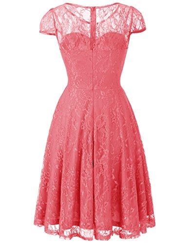 Dresstells Cerimonia Manica Casual Vintage Donna Coral Corta Vestiti Pizzo Vestito XanWpXqr