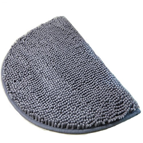 Ustide Small Grey Rug for Dorm Chenille Shag Rug Non-Slip Absorbent Bath Mat Soft Floor Rug Half-Round