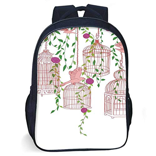 Flying Birds Decor Durable Schoolbag,Rose Garden with Flying Birds and Ornate Cages Flower Leaf Home Love Design for student,One size (Birds Of A Feather Flock Together Proverb)