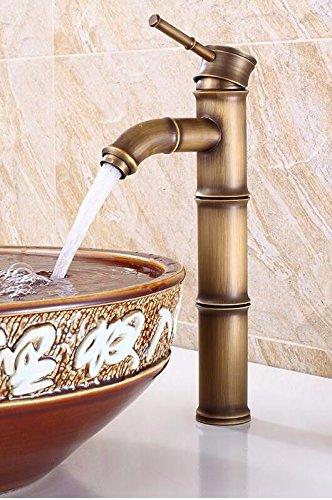 NewBorn Faucet Küche oder Badezimmer Waschbecken Mischbatterie antiken Bambus Wasserhahn Warmes und Kaltes Leitungswasser voll Kupfer antik Waschbecken Plus Höhe Einzigen Griff Leitungswasser Ein