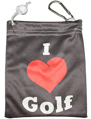 Giggle Golf Microfiber I Love Golf Tee Bag With Four Wood Tees
