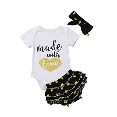 29f46fddc7ec Amazon.com  Newborn Baby Girls Clothes Daddy Mommy Outfit Rompers+ ...