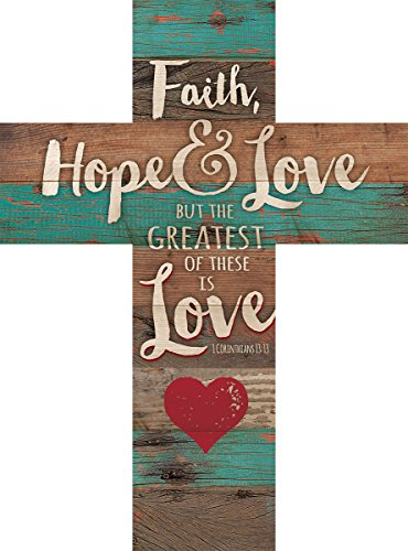 P. Graham Dunn Faith Hope & Love 1 Corinthians 13:13 Red Heart Rustic 14 x 10 Wood Wall Art Cross - Wall Cross Heart