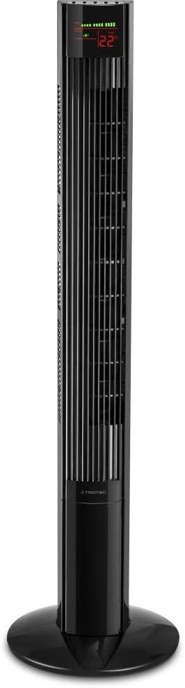 TROTEC Ventilador de Torre TVE 32 T/Extra alto/Mando a Distancia/Pantalla LED/Silencioso / 45 W/Negro / 3 Velocidades de Ventilación/Oscilación Automática de 60° / Temporizador/Base de Apoyo Estable