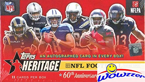 2015 Topps Heritage NFL Football Factory Sealed Box with AUTOGRAPH & FOILBOARD PARALLEL! Look for Autos of Todd Gurley, Emmitt Smith, John Elway, Brett Favre, Marcus Mariota,Dan Marino & More! ()