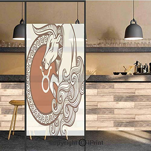 3D Decorative Privacy Window Films,Astrology Calendar Bull Classic Animal Figure Person Symbolic Design Decorative,No-Glue Self Static Cling Glass film for Home Bedroom Bathroom Kitchen Office 17.5x71