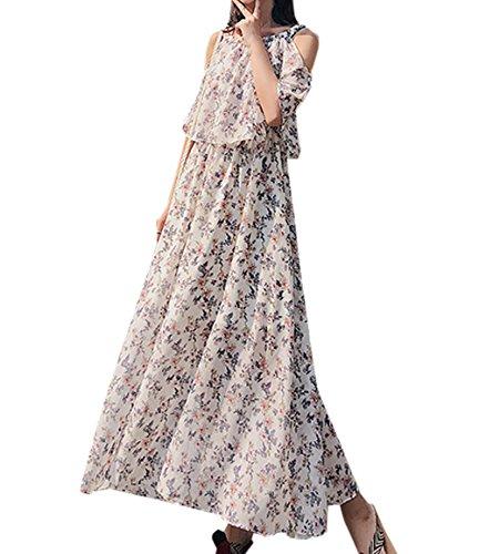 t Mousseline Robe Femmes Casual Fleurie Maxi Robe de Plage Bretelle Dnude paule Robes de Fte Soire Blanc